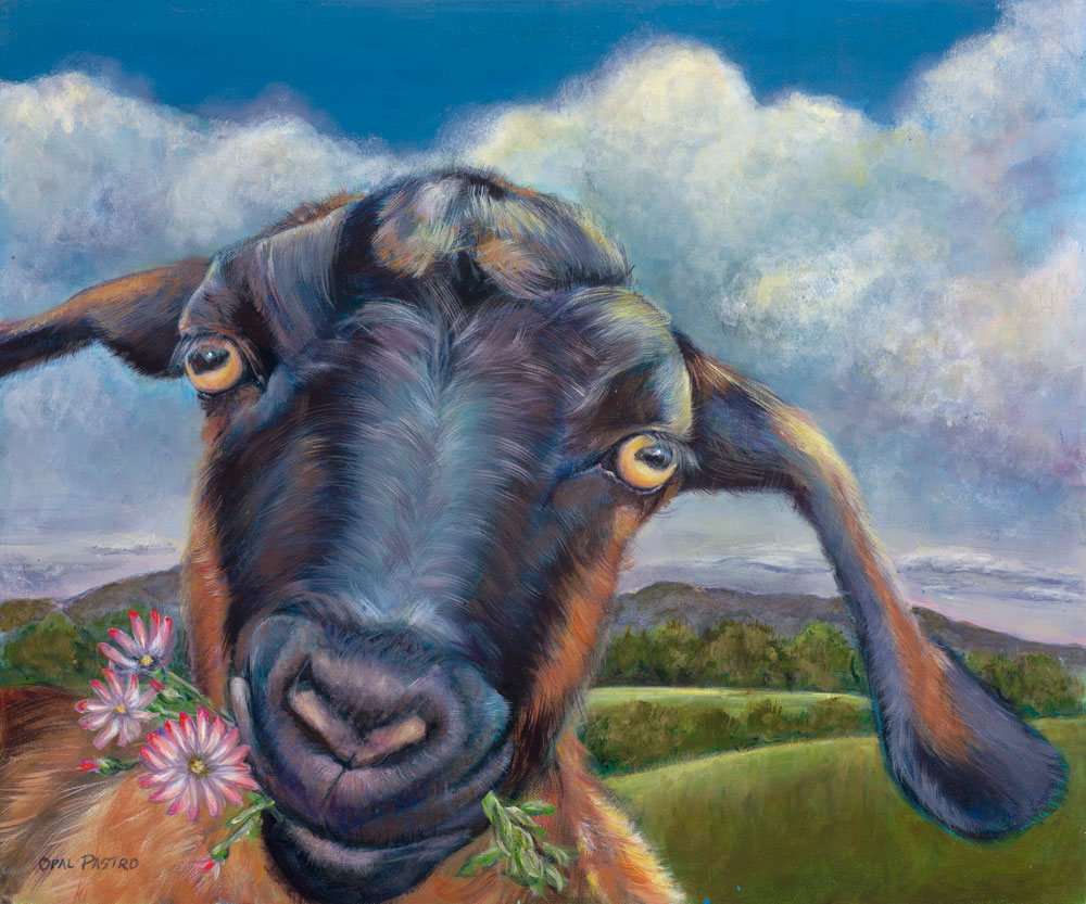 GOAT PAINTING OF HOUSE GOAT EATING FLOWERS IN LOVELY LANDSCAPE BY OPAL PASTRO ART