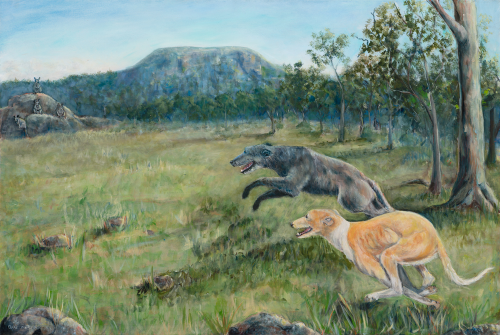 DOG PAINTING OF KANGAROO DOGS IN NATURAL BUSHLAND BY OPAL PASTRO ART