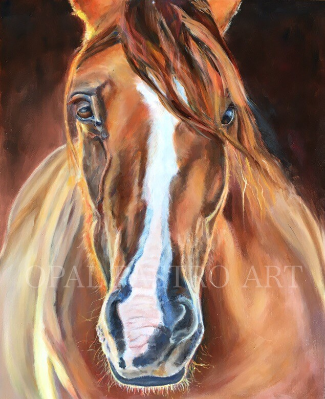 EQUINE PAINTING OF CHESTNUT HORSE WITH BROWN BACKGROUND BY OPAL PASTRO ART
