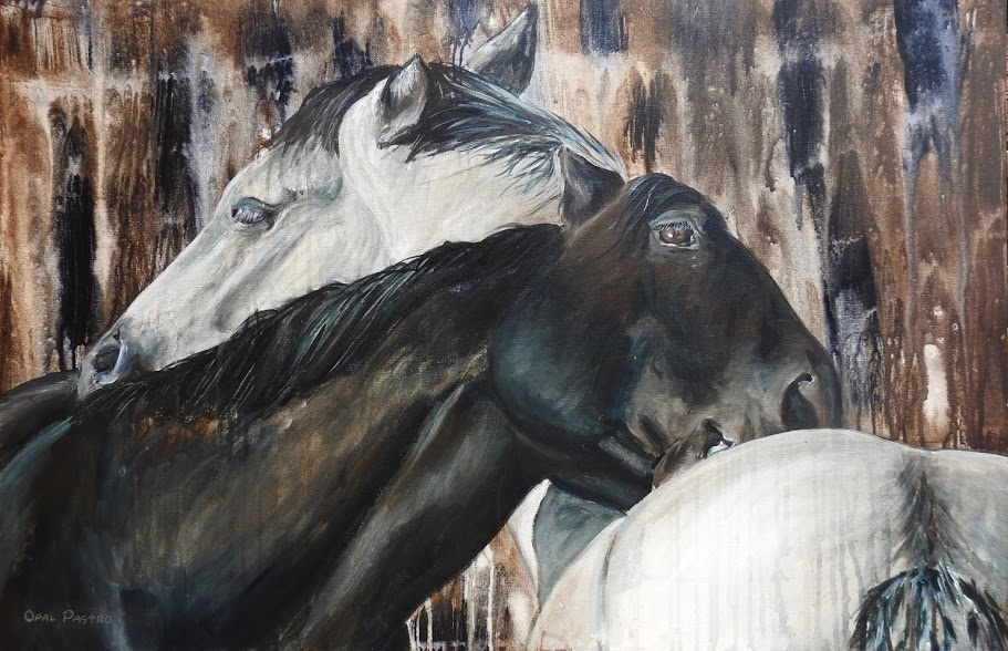 PAINTING OF TWO HORSES SCRATCHING BY OPAL PASTRO ART