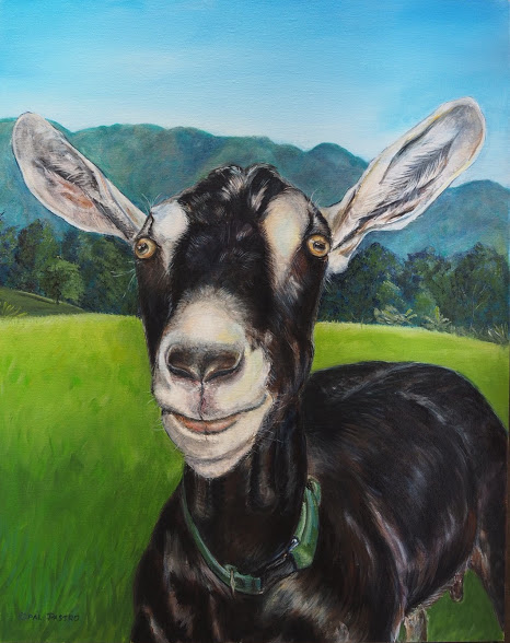 GOAT PAINTING OF BLACK GOAT IN LOVELY LANDSCAPE BY OPAL PASTRO ART