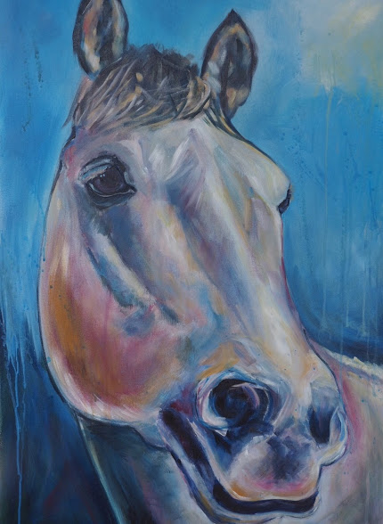 HORSE ART OF GREY GELDING WITH BLUE BACKGROUND BY OPAL PASTRO ART