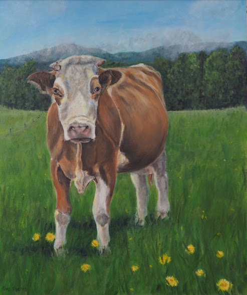 PAINTING OF COW IN LOVELY LANDSCAPE BY OPAL PASTRO ART