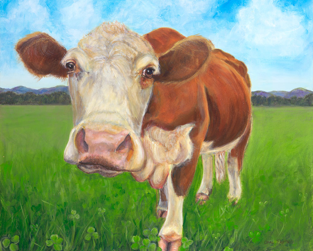 COW ART HEREFORD BULL IN IDYLLIC SETTING BY OPAL PASTRO ART