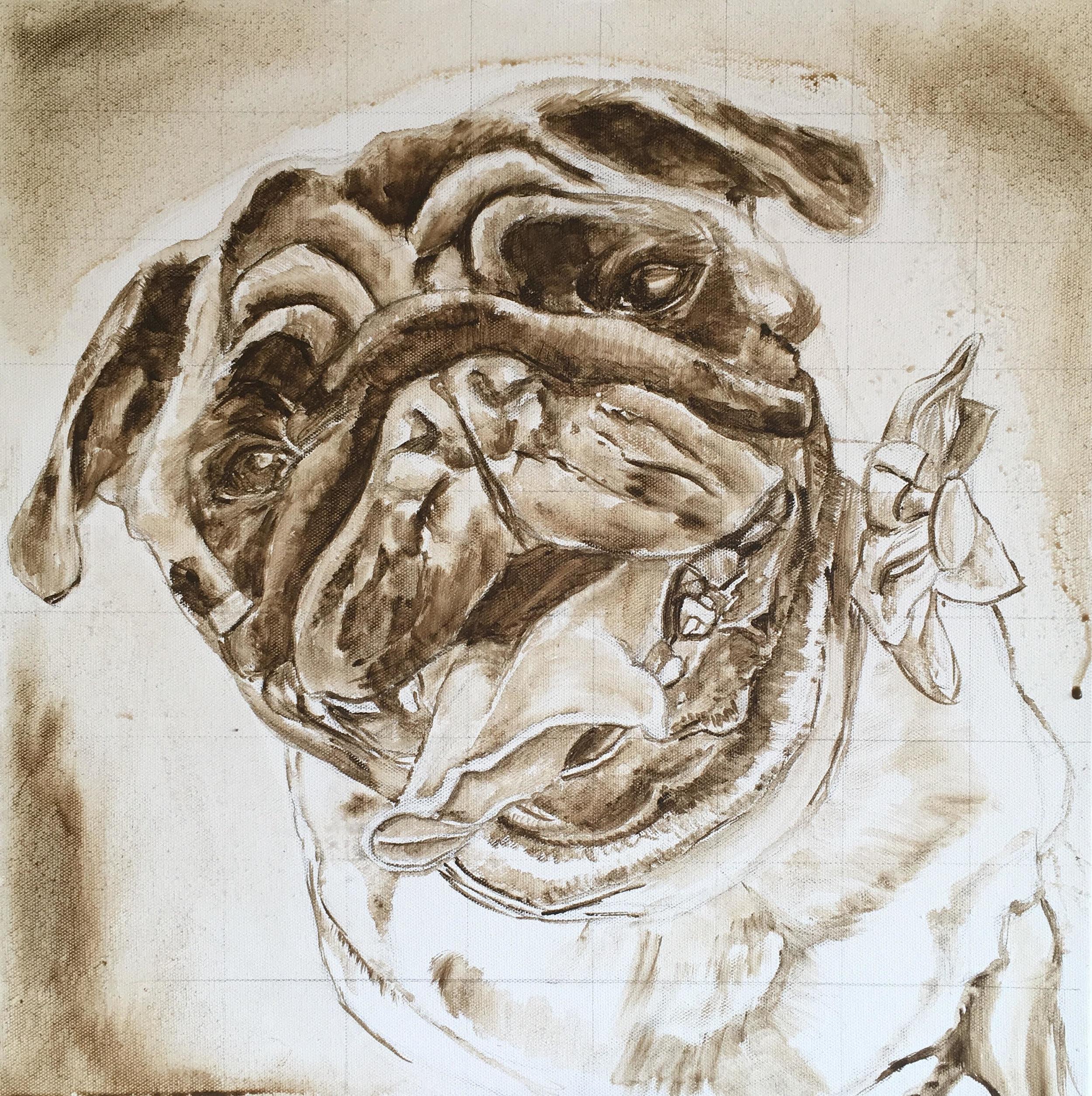 PUD DOG CUSTOM PORTRAIT. TONAL LAYER BY OPAL PASTRO ART