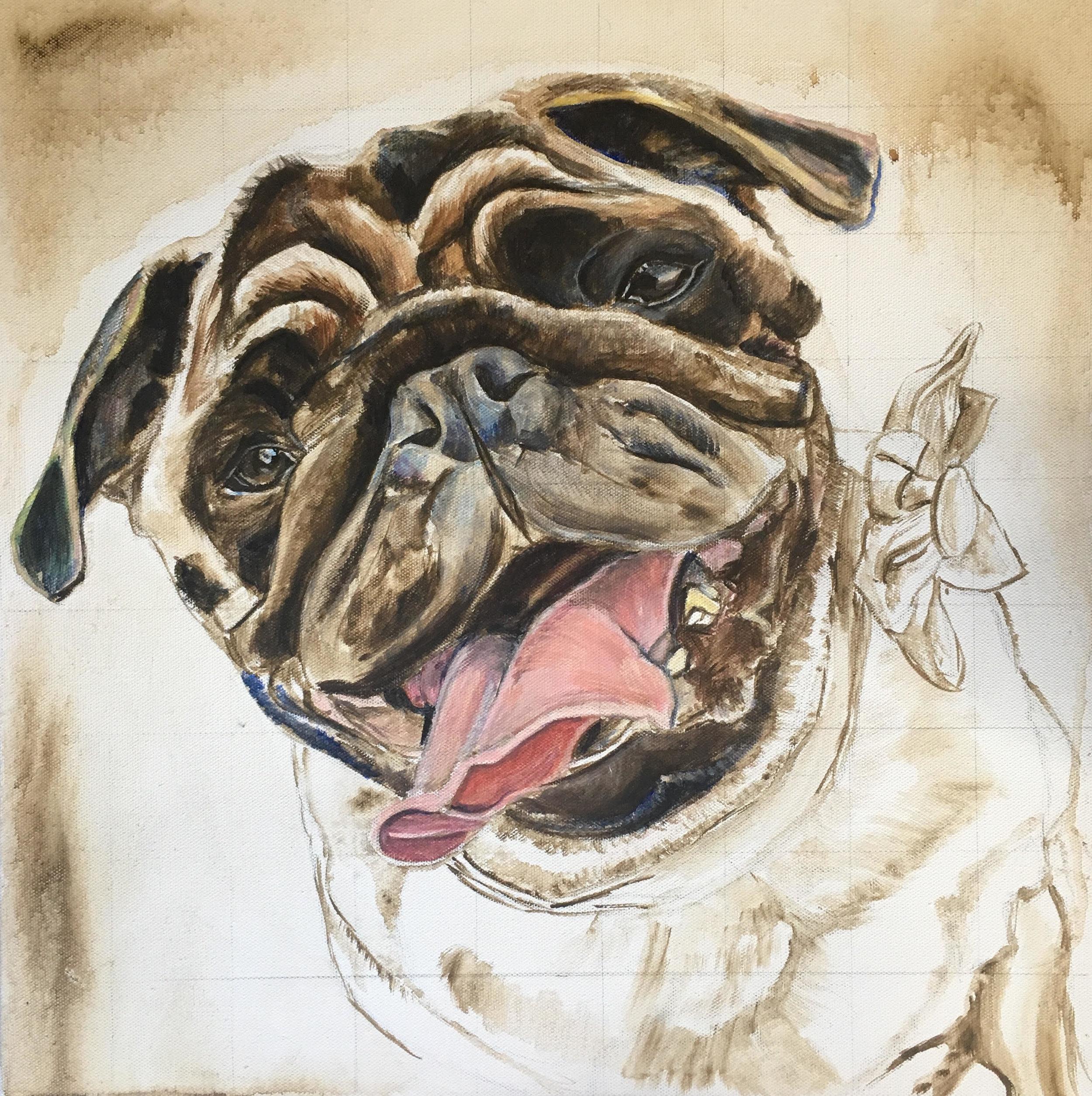 PUG DOG UNDER PAINTING 1. CUSTOM PORTRAIT BY OPAL PASTRO ART