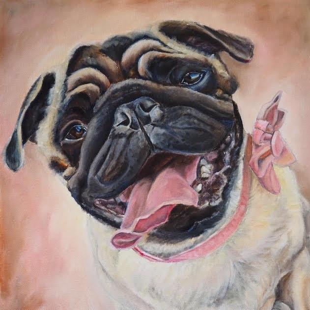 DOG CUSTOM PORTRAIT OF PUG. HAND PAINTED BY AUSTRALAIN PET PORTRAIT ARTIST OPAL PASTRO ART