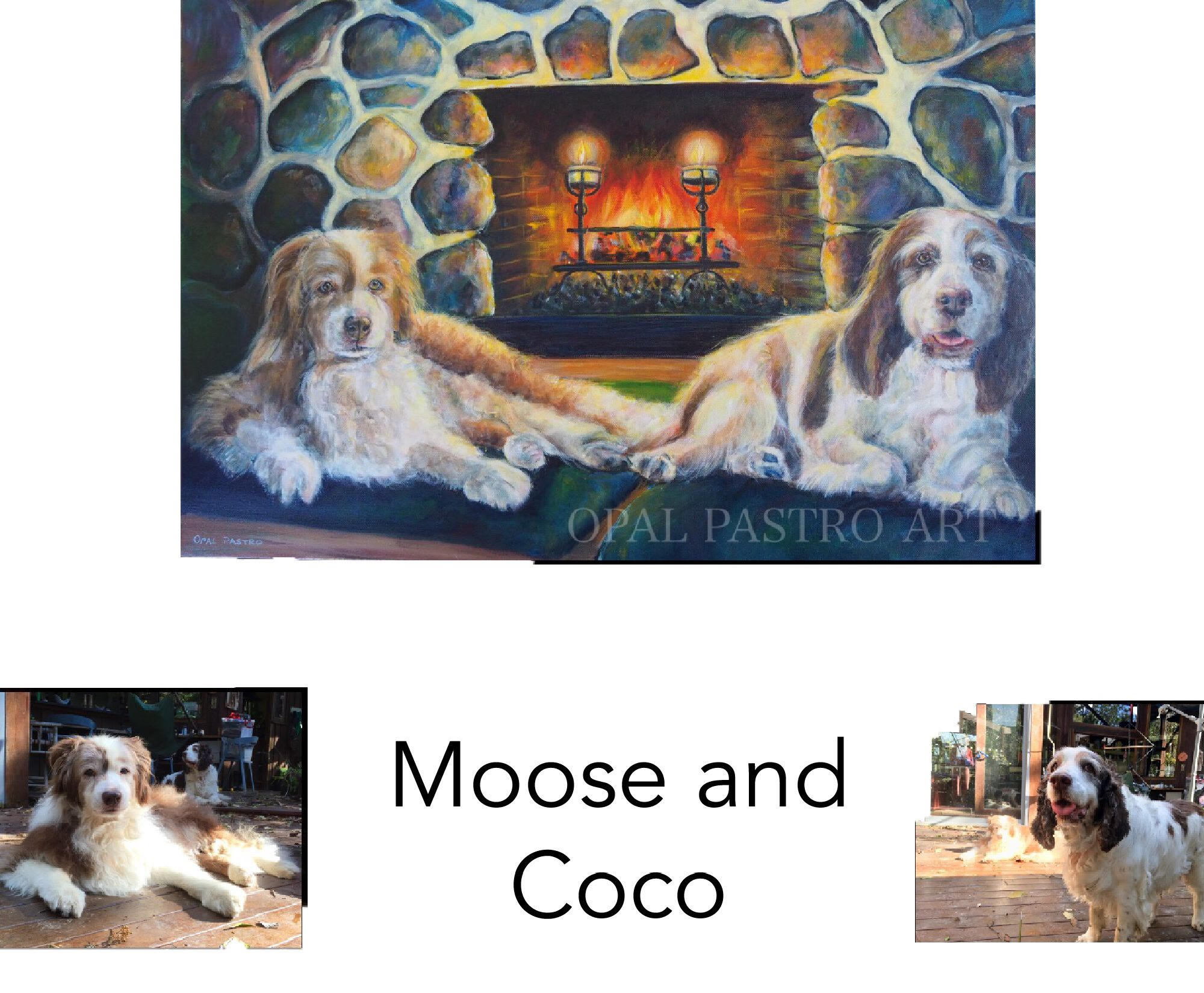 """Boarder Collie, Springer Spaniel - Acrylic on canvas 24""""x 30""""  60.96cm x 76.20cm Private CommissionValla, NSW————————————Moose and Coco are at their favourite spot in front of the beautiful fireplace. Happy dogs in their happy place."""