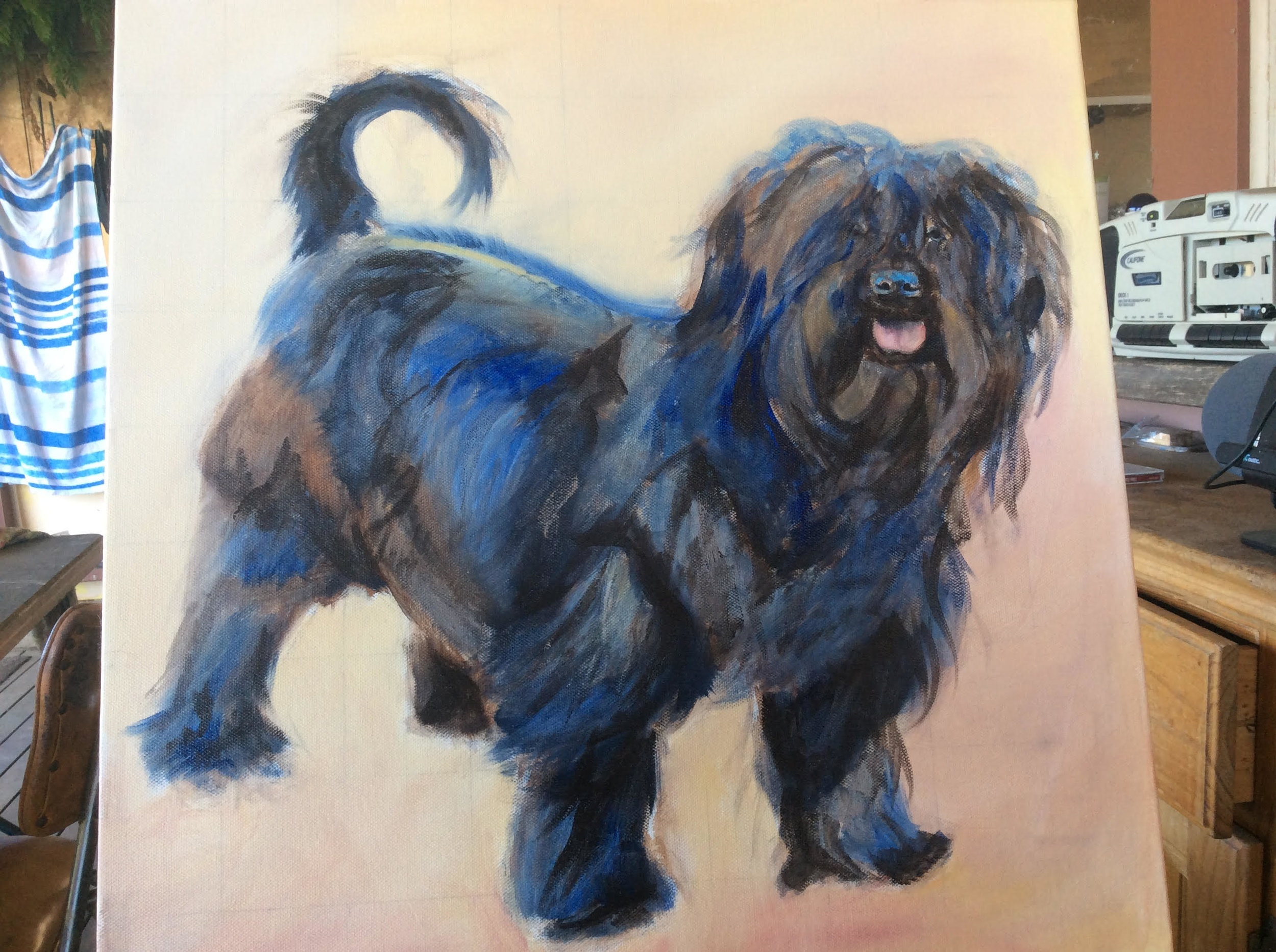 DOG PAINTING OF IN BLACK SHIH-POO STANDING IN AUTUMN LEAVES BY OPAL PASTRO ARTL