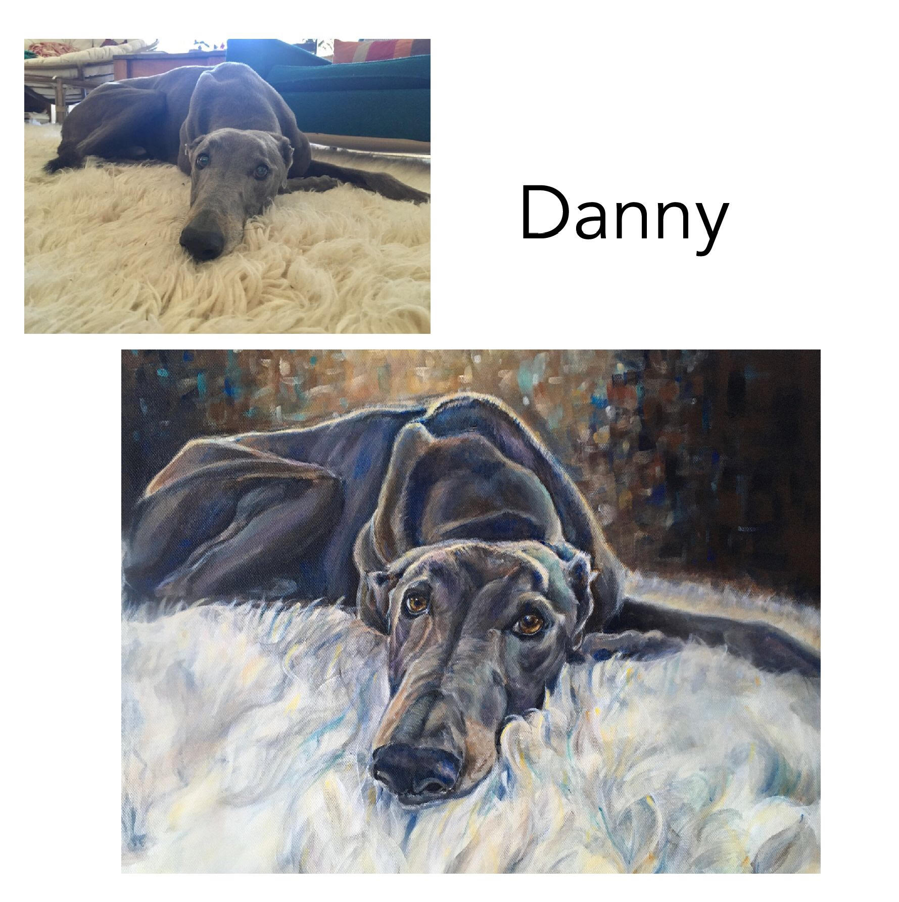 """Greyhound - Acrylic on Canvas 35.5cm x 45.70cm (14' x 18"""")Private CommissionValla, NSW———————————————————-Danny's life started out terribly in the greyhound industry.Luckily he now enjoys a life of love and luxury. Here he is doing one of his favourite activities on his favourite shaggy rug."""