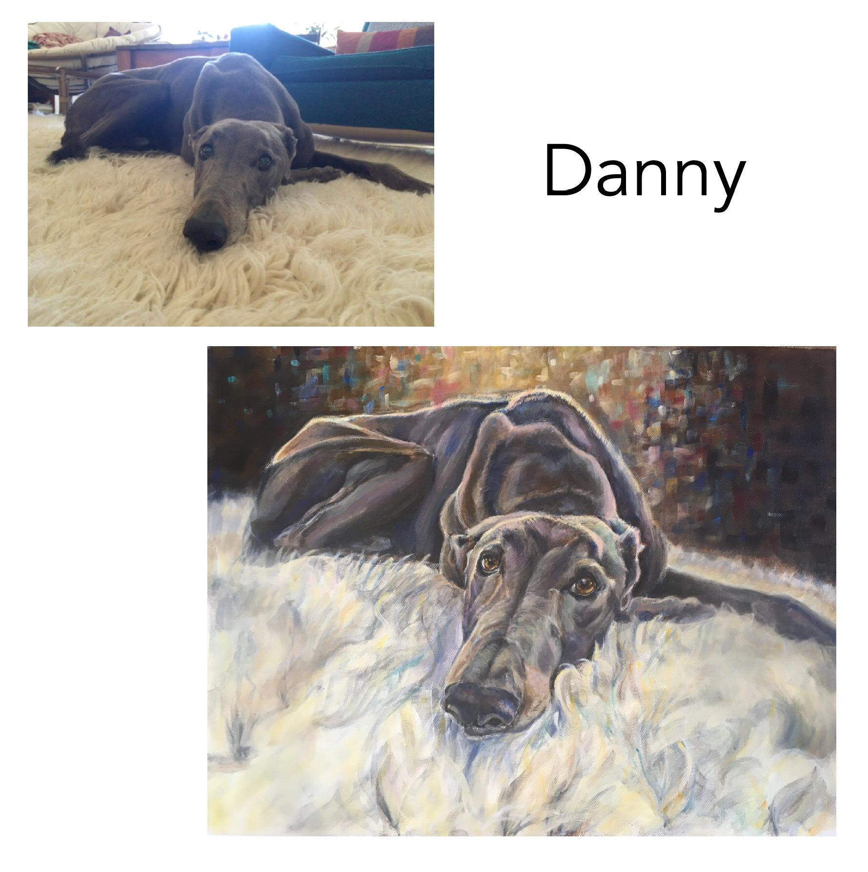 Hand painted custom portrait of Danny the Rescue Greyhound resting on a shaggy rug and gold and brown impressionistic background. Painted from photos by Australian pet portrait artist Opal Pastro