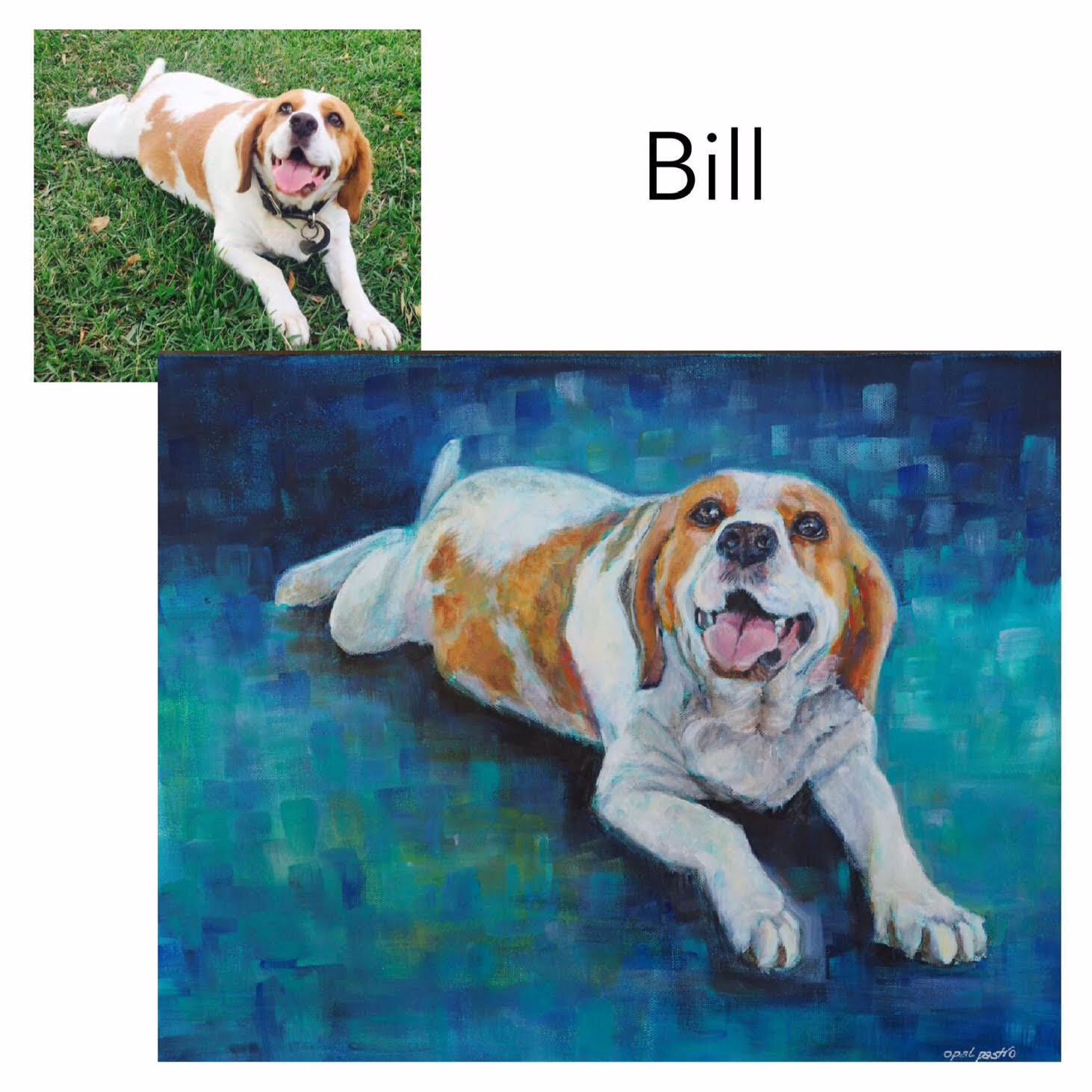 """Beaglier - Acrylic on Canvas, 35.5cm x 45.70cm (14' x 18"""")Private CommissionRepton, NSW—————————————-Bill is a gentle and loving goofball. His hobbies include eating, sleeping, cuddles, and tummy scratching on the grass."""