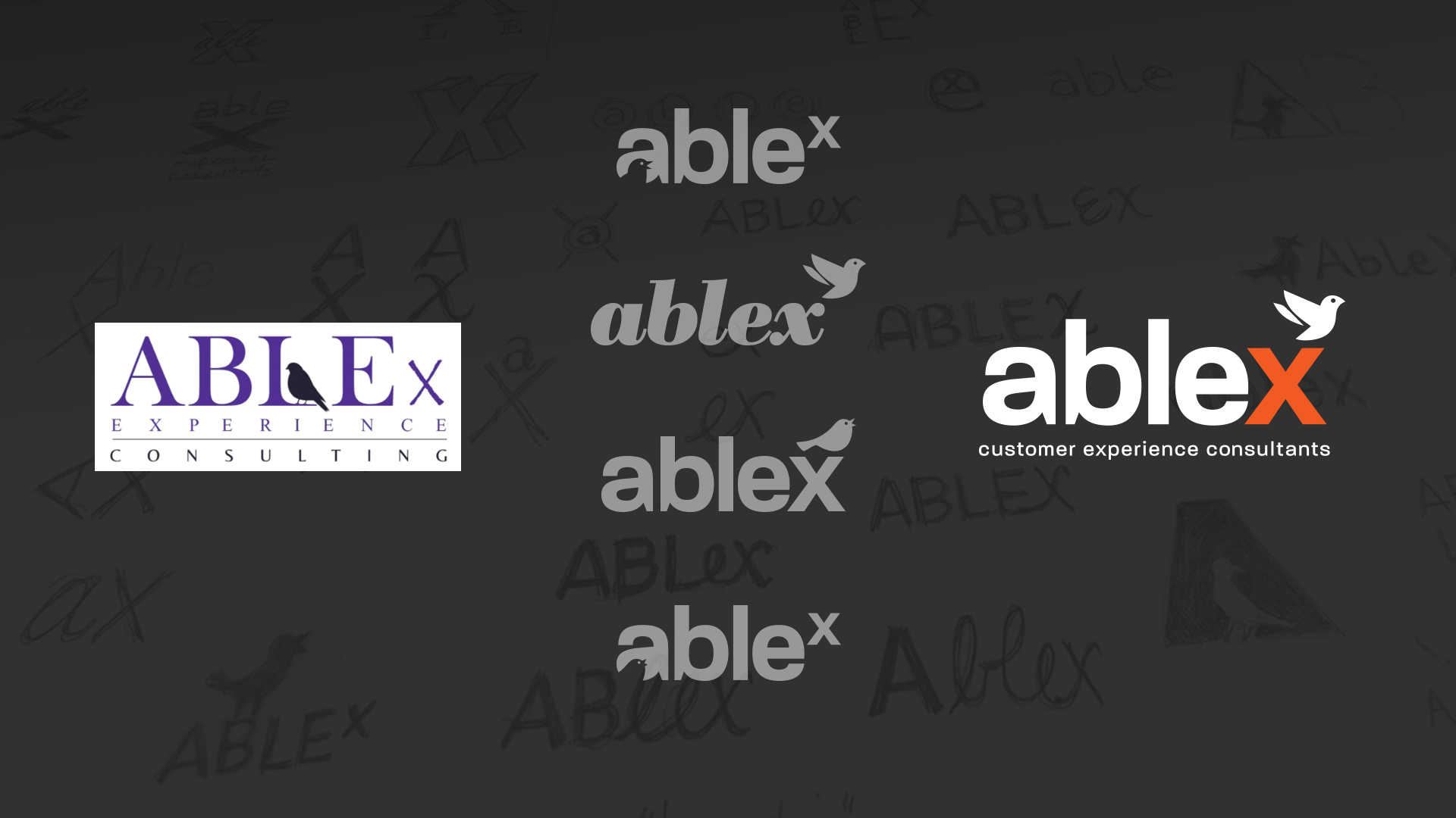 From left to right: original ABLEx logo, some early concepts, and the redesigned logo.