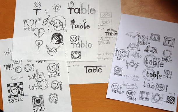 Early logo sketches. I really wanted the heart symbol to work, but it simply was too much of a disconnect from TABLE's name.