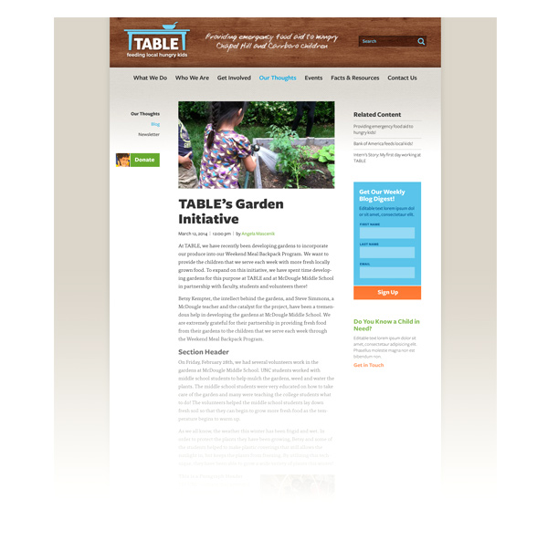 The second round of layouts included subtle changes, like fixing the width of the site, adding a background, and replacing the gingham texture underneath the header with a burlap texture.