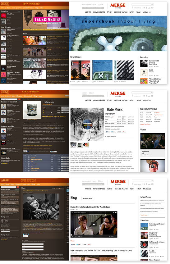 Merge's legacy design was dark and text-dense with very little white space, making it difficult to scan content. The new design benefits from a more open layout, stripped of any unnecessary ornamentation.