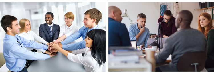 """Which one of these stock photos says """"teamwork"""" and which one looks like some sort of weird corporate seance? Natural lighting, natural placement of people in space, and natural interactions make all the difference."""