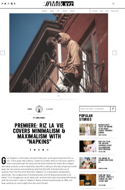 MILK - Napkins Premiere  February 23, 2018   https://milk.xyz/articles/premiere-riz-la-vie-covers-minimalism-maximalism-with-napkins/
