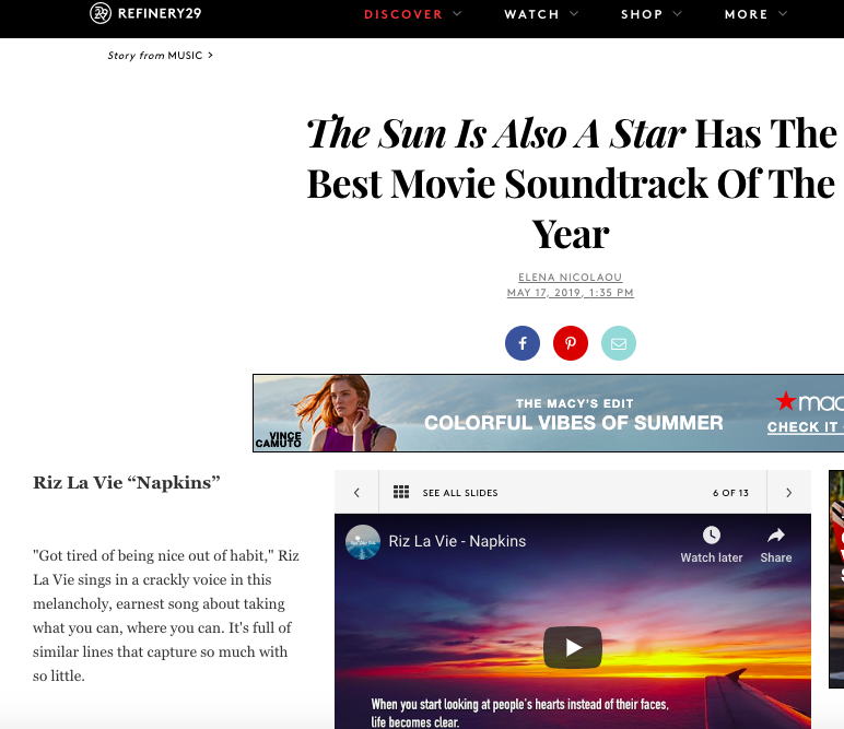 Refinery29 - The Sun is Also a Star Has the Best Movie Soundtrack of the Year  May 17, 2019   https://www.refinery29.com/en-us/2019/05/232985/sun-is-also-a-star-soundtrack#slide-6