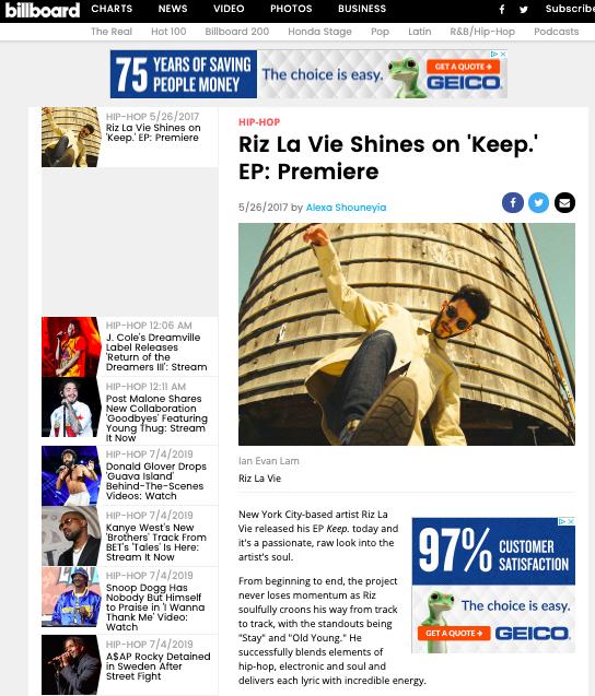 Billboard- Keep EP  May 26, 2017   https://www.billboard.com/articles/columns/hip-hop/7809506/riz-la-vie-keep-ep-premiere