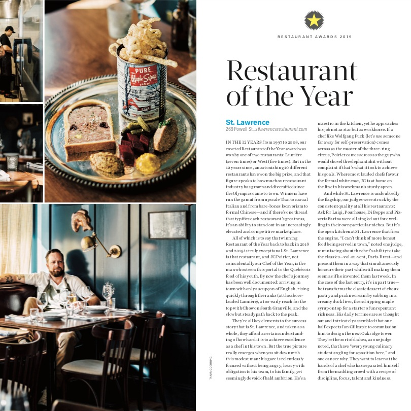 Restaurant of the Year 2019   Vancouver Magazine
