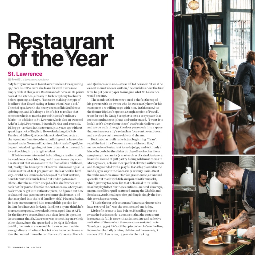 Restaurant of the Year 2018   Vancouver Magazine