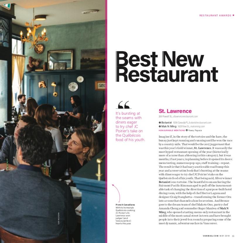 Best New Restaurant 2018   Vancouver Magazine