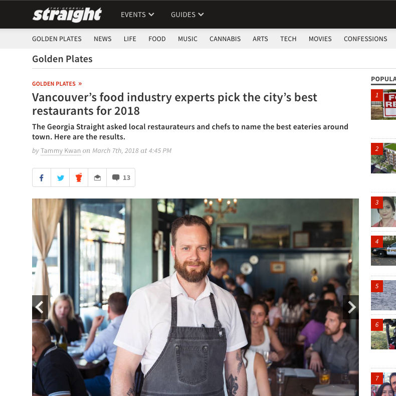 Food Industry Insider Picks 2018: –Chef of the Year –Best New Restaurant –Best French    Georgia Straight's Golden Plates