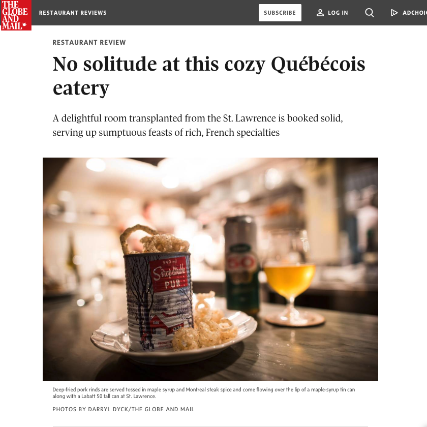Review: No solitude at this cozy Québécois eatery   Alexandra Gill, The Globe and Mail