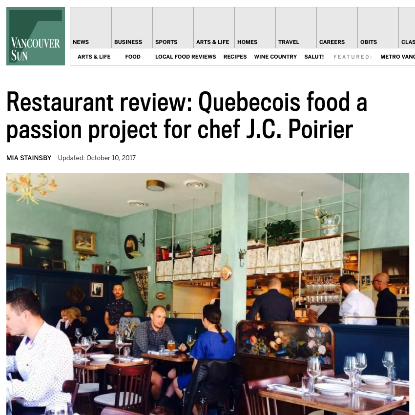 Review: Québécois food a passion project for chef J-C Poirier   Mia Stainsby, Vancouver Sun