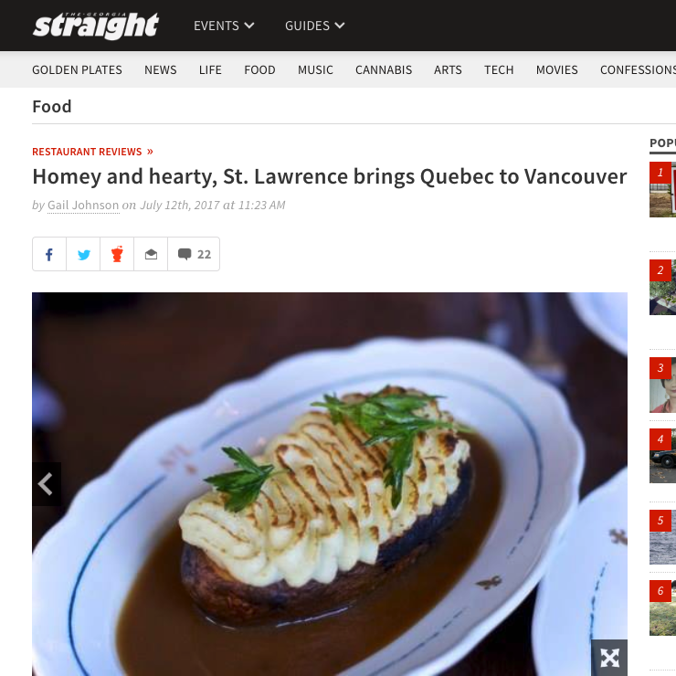Review: Homey and hearty, St. Lawrence brings Quebec to Vancouver   Gail Johnson, Georgia Straight