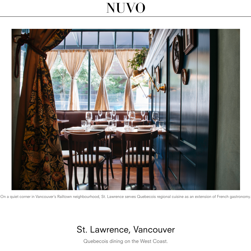 Profile: Québécois dining on the West Coast   Whitney Millar, Nuvo Magazine