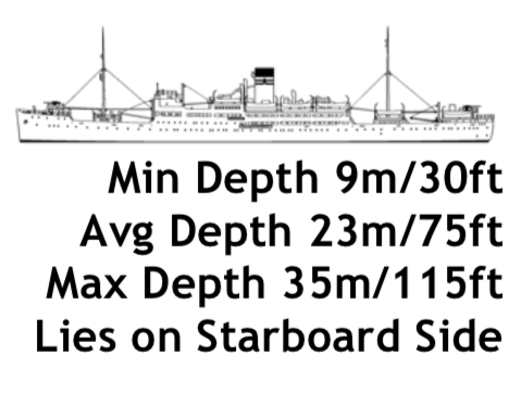 Rio De Janeiro Maru - The Rio was a large eight-deck liner that was converted into a submarine tender in the early part of the war, before being converted a second time into a special transport vessel. Massive fires burned in the fore part of the ship before she sank causing the shells there to explode from the inside. The intense heat greatly weakened the bow section which is now starting to collapse. In her rear holds are hundreds of beer bottles, some still in their cases. The stern of the Rio has an impressive gun set on a large platform, docking telegraph and two photogenic propellers set between a single rudder.