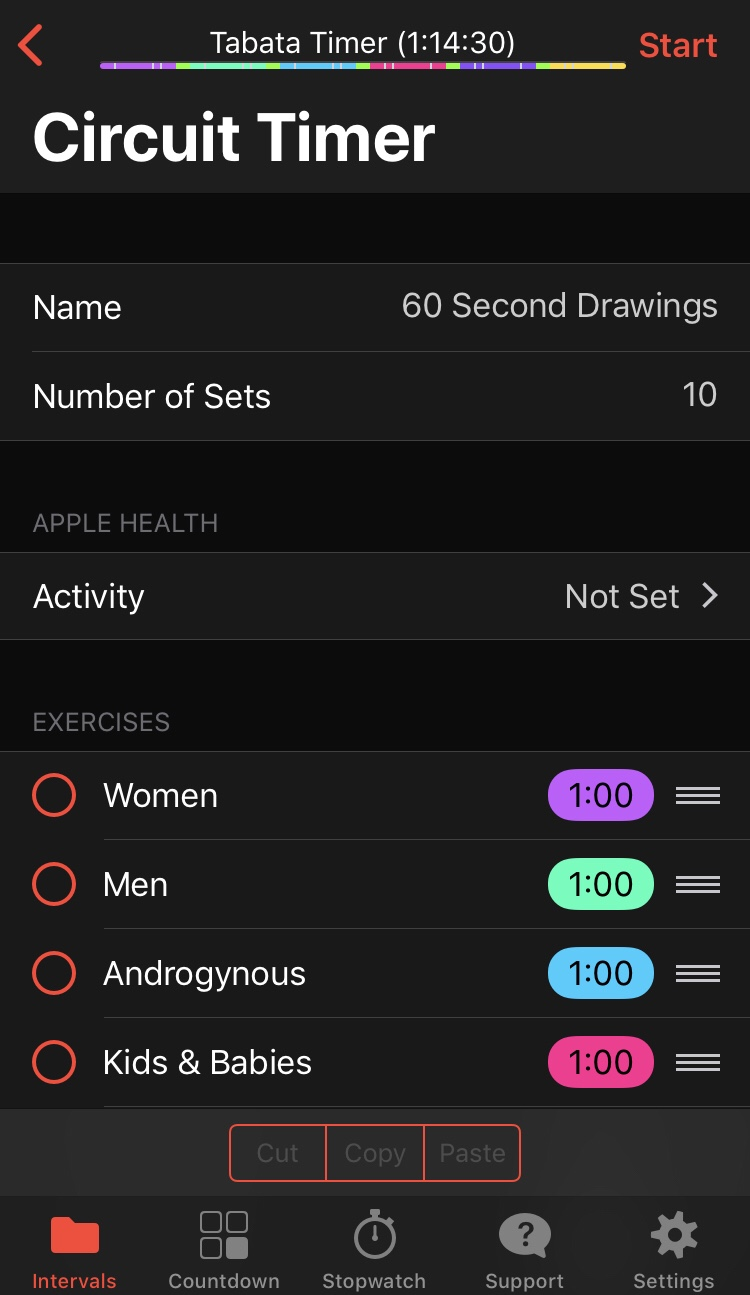 Screenshot of a drawing practice setup in the Seconds interval timer application