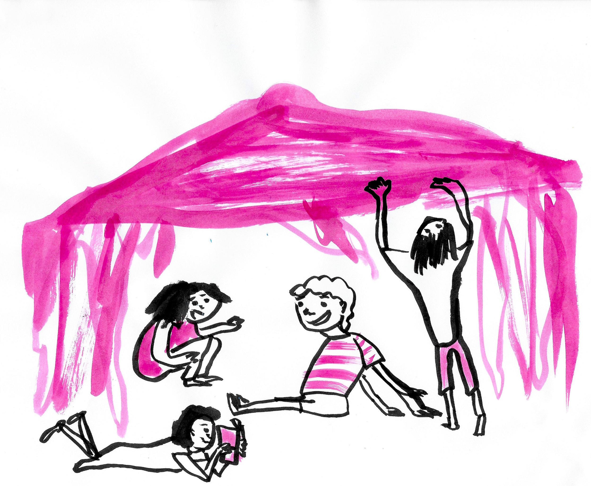 One-minute character drawings. I think they made a blanket tent? This entire page was done with no reference, no thoughts, in under 4 minutes.