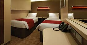Interior Cabins - These staterooms include two lower beds that convert to a queen-size bed.Total Approx. Size: 135 sq. ft.