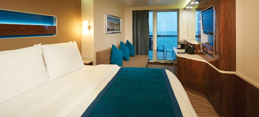 Balcony Cabins - Take in the amazing views from these staterooms that include two lower beds that convert to a queen-size bed. Total Approx. Size: 207 sq. ft. Balcony Size: 32 sq. ft.