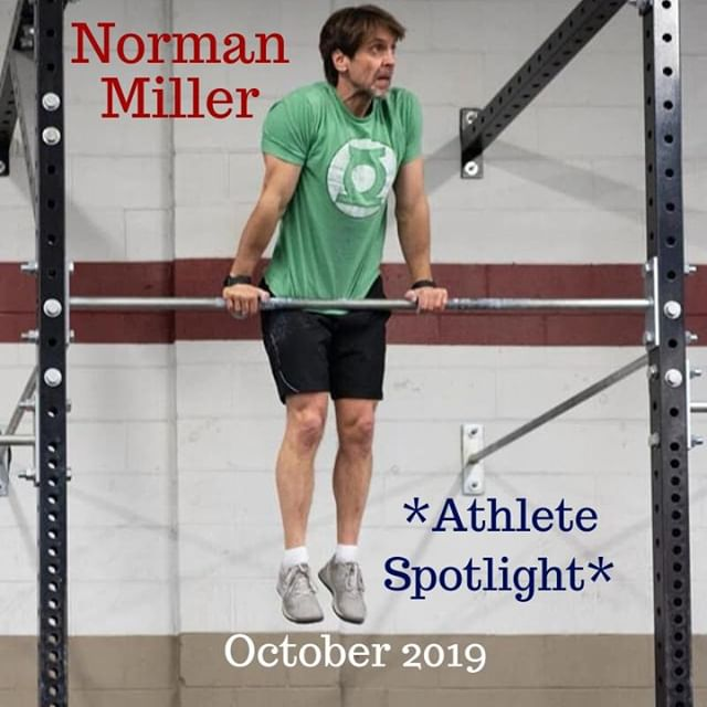 ** October 2019: ATHLETE SPOTLIGHT**   This month we are honoring the funny and fit Norman Miller!!!!!   Norm always gets the last word in and has the fitness level of a 21 year old! We are so glad to have him as part of our community and hope you've gotten a chance to meet him!   When did you start CrossFit? **June 2016  What made you join CrossFit Turbine?  **Lisa Drake. She asked repeatedly for me to join her at this new gym she loved. Eventually, as any smart boyfriend would do, I relented.  What is your favorite CrossFit movement? How about your favorite WOD? **HSPUs… Angie… Though I've yet to do it, JT (21-15-9 HSPU,RMU,PushU) might be my dream WOD.  I didn't know this but it's also the first ever hero WOD.  What is your least favorite CrossFit movement? ** Wall balls. Even burpees hate wall balls.  What is your favorite beer? **Seasonal: Mornin' Delight by Toppling Goliath. Daily:  Sculpin-grapefruit by Ballast Point  If you had to wear a t-Shirt with one word on it for one year which word would you choose?  ** personal-space.  Hyphenated it's 1 word.  If you were forced to karaoke one song in front of the whole world what song would you pick? **She's a Lady by Tom Jones. At gun point.  Maybe.  If you had only 1 hour of spare time a day what you you do with it?  ** Drink coffee and relax.   What one piece of advice would you give someone starting their CrossFit journey? **Put your blinders on.  You really have to find YOUR quality zone and forget about everyone else and what they're doing.  Once you do that and you're comfortable then go find someone in the gym better than you and make it your goal to beat them. #crossfitturbine #fitfam #crossfit