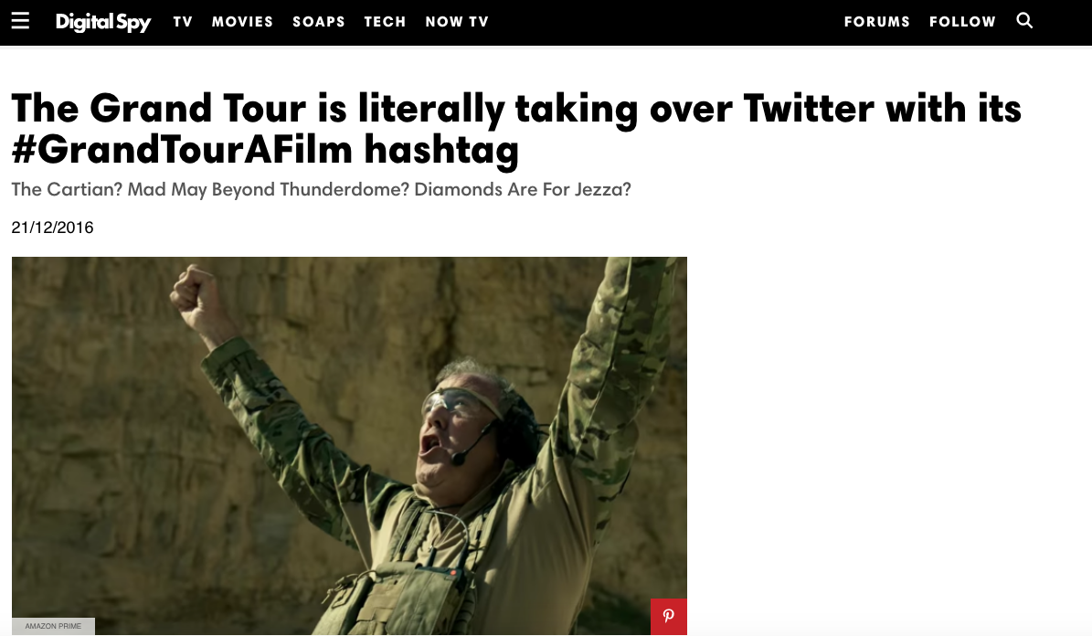 Example article from Digital Spy about #GrandTouraFilm which was spawned from Reddit fan art.