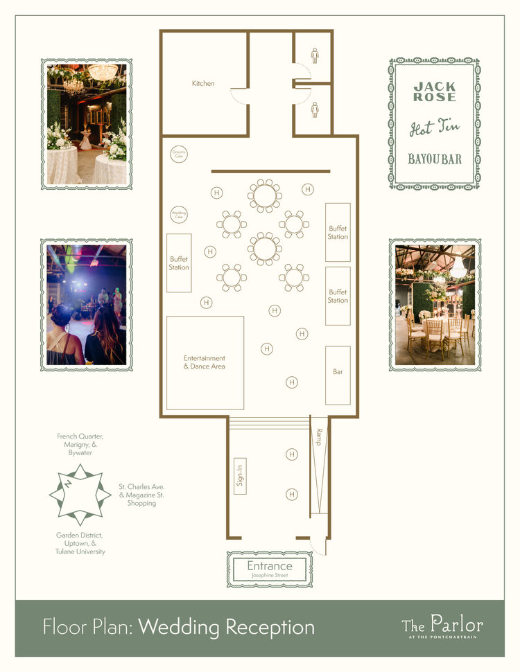 This floor plan ensures that guests of all inclinations can help celebrate your big day!