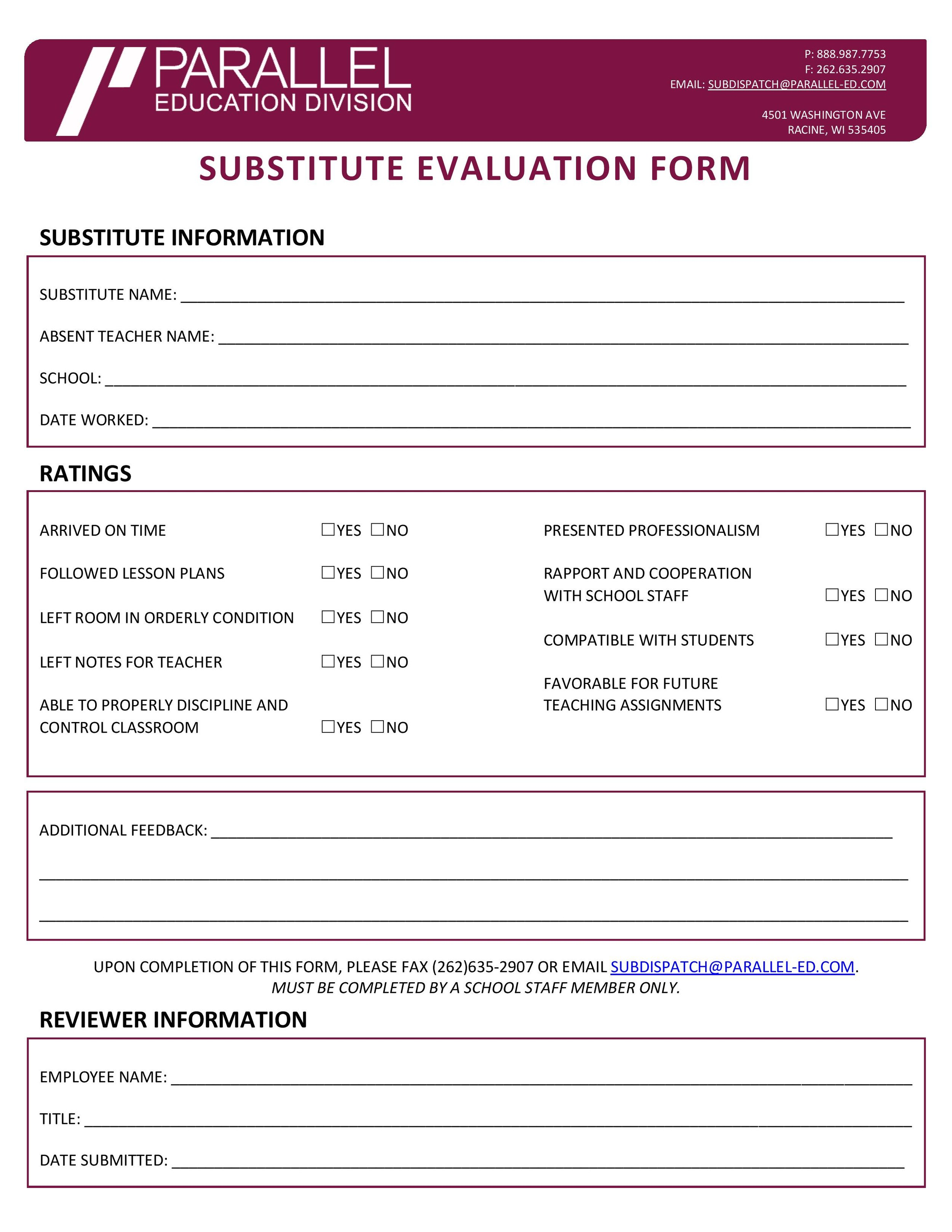 Parallel Education Division Substitute Evaluation Form