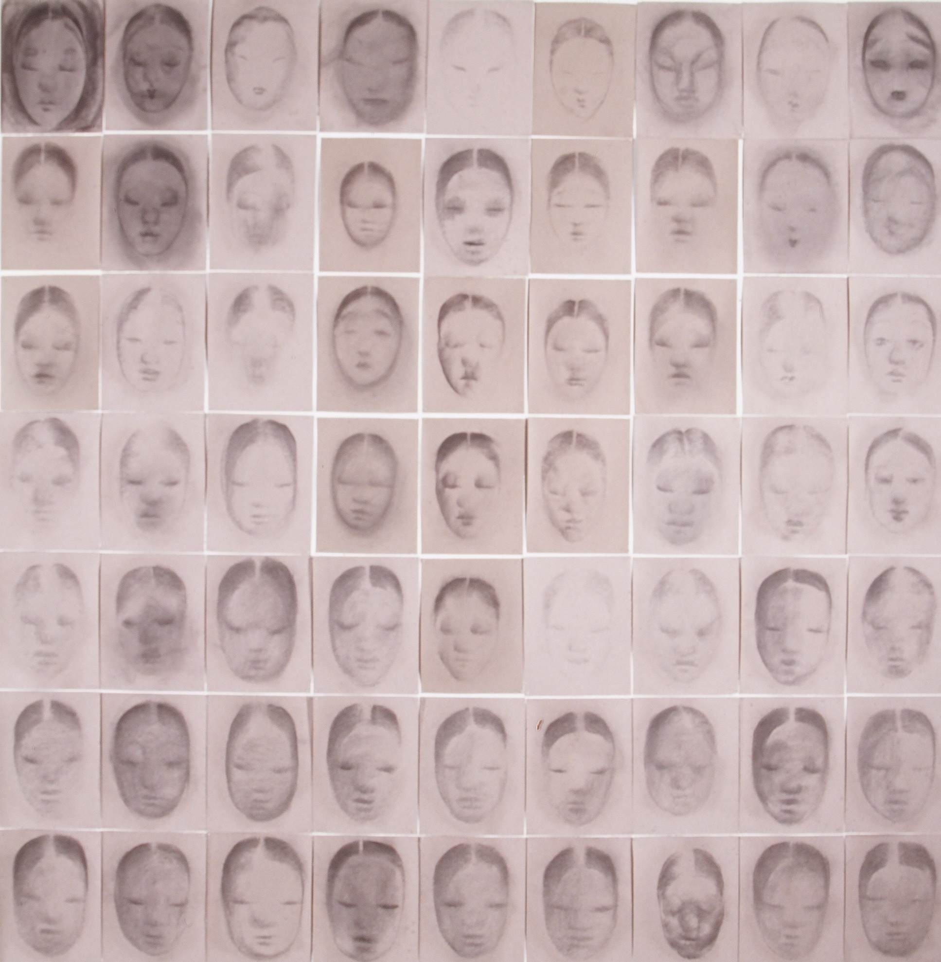 SoHyun Bae, An Ode to the Women of Josun Dynasty, 1997, vine charcoal on tomb's gray paper, (63 panels) 97 x 90 inches