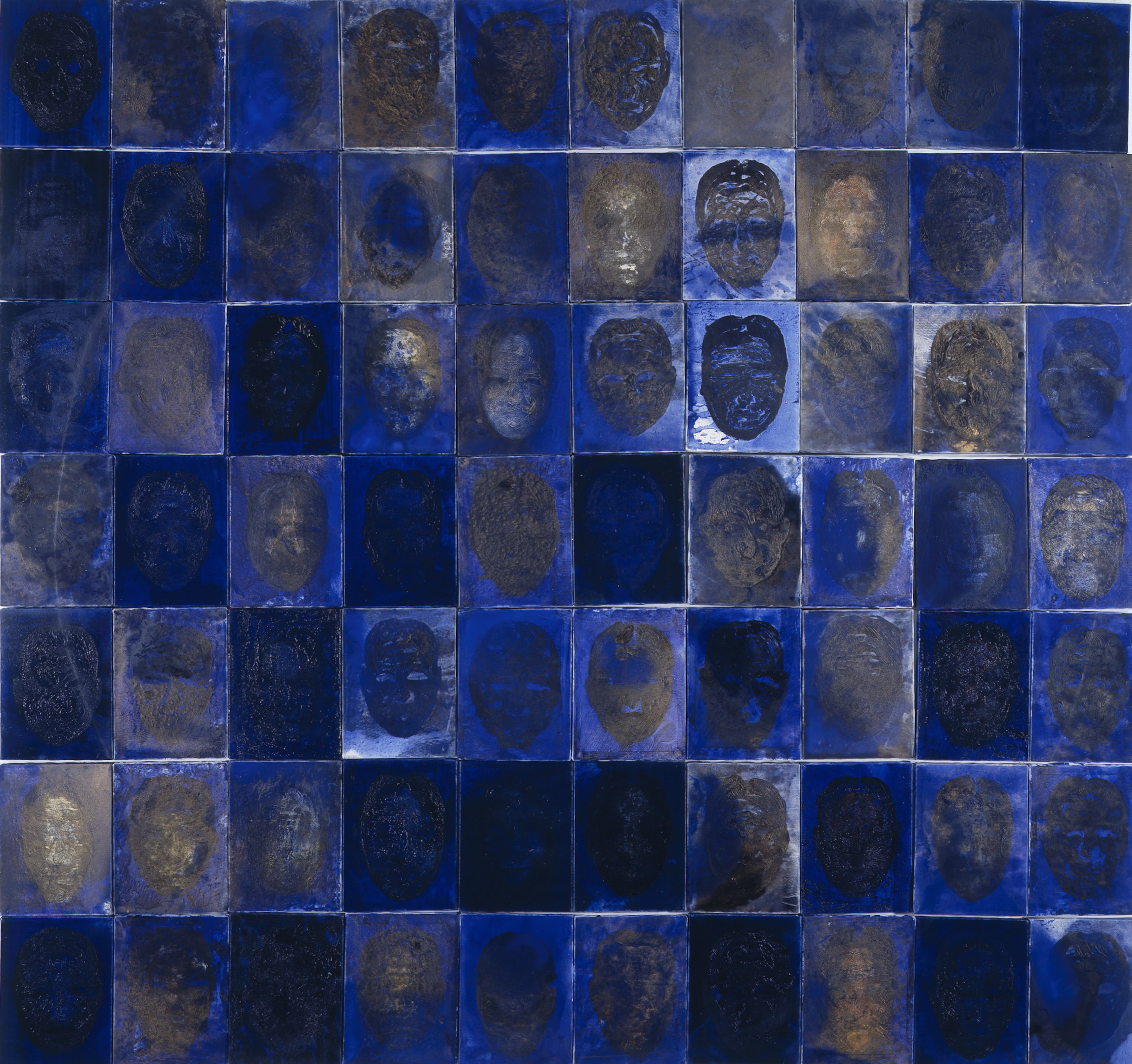 SoHyun Bae, An Ode to the Women of Josun Dynasty, 1997, oil on canvas (70 panels), 94 x 90 inches