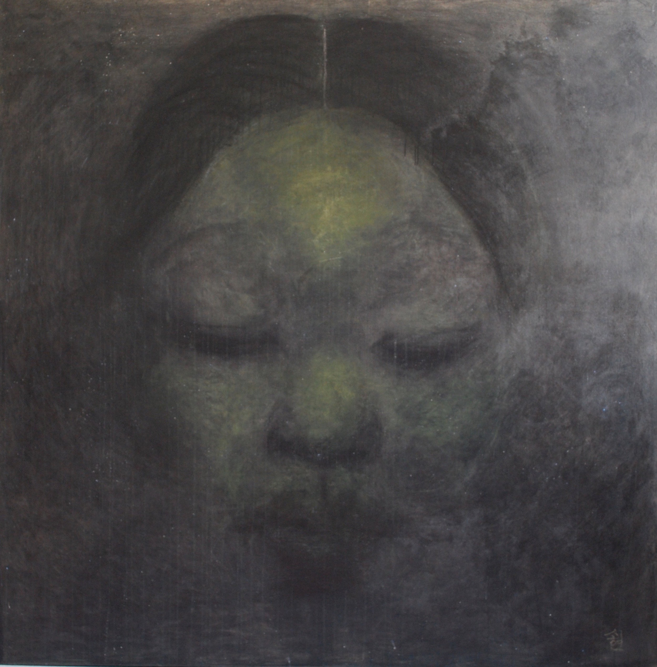SoHyun Bae, A Woman of Josun Dynasty: Colossal Head I, 1998, charcoal, pure pigment on canvas, 81 x 81 inches