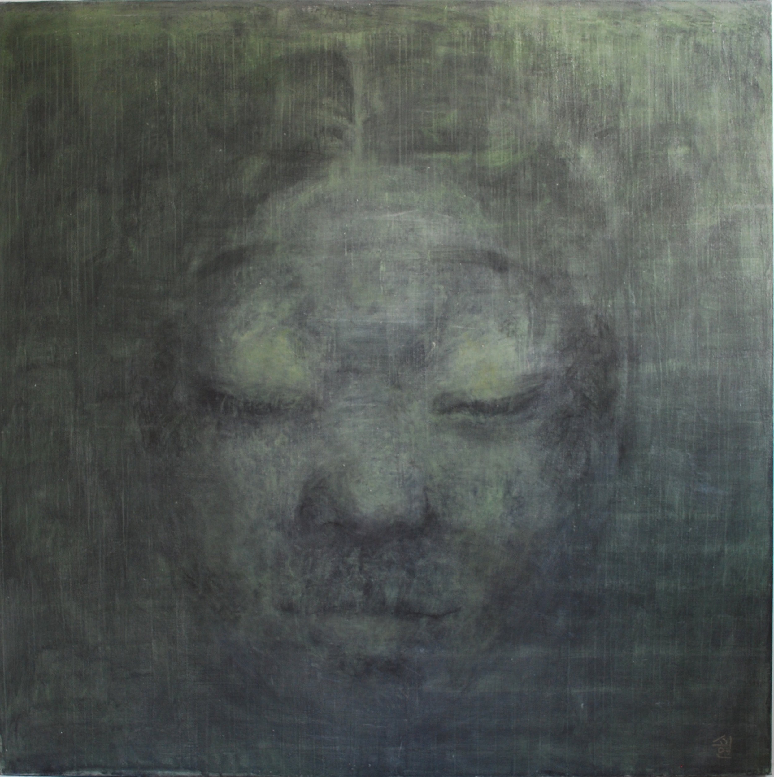 SoHyun Bae, A Woman of Josun Dynasty: Colossal Head II, 1998, charcoal, pure pigment on canvas, 81 x 81 inches