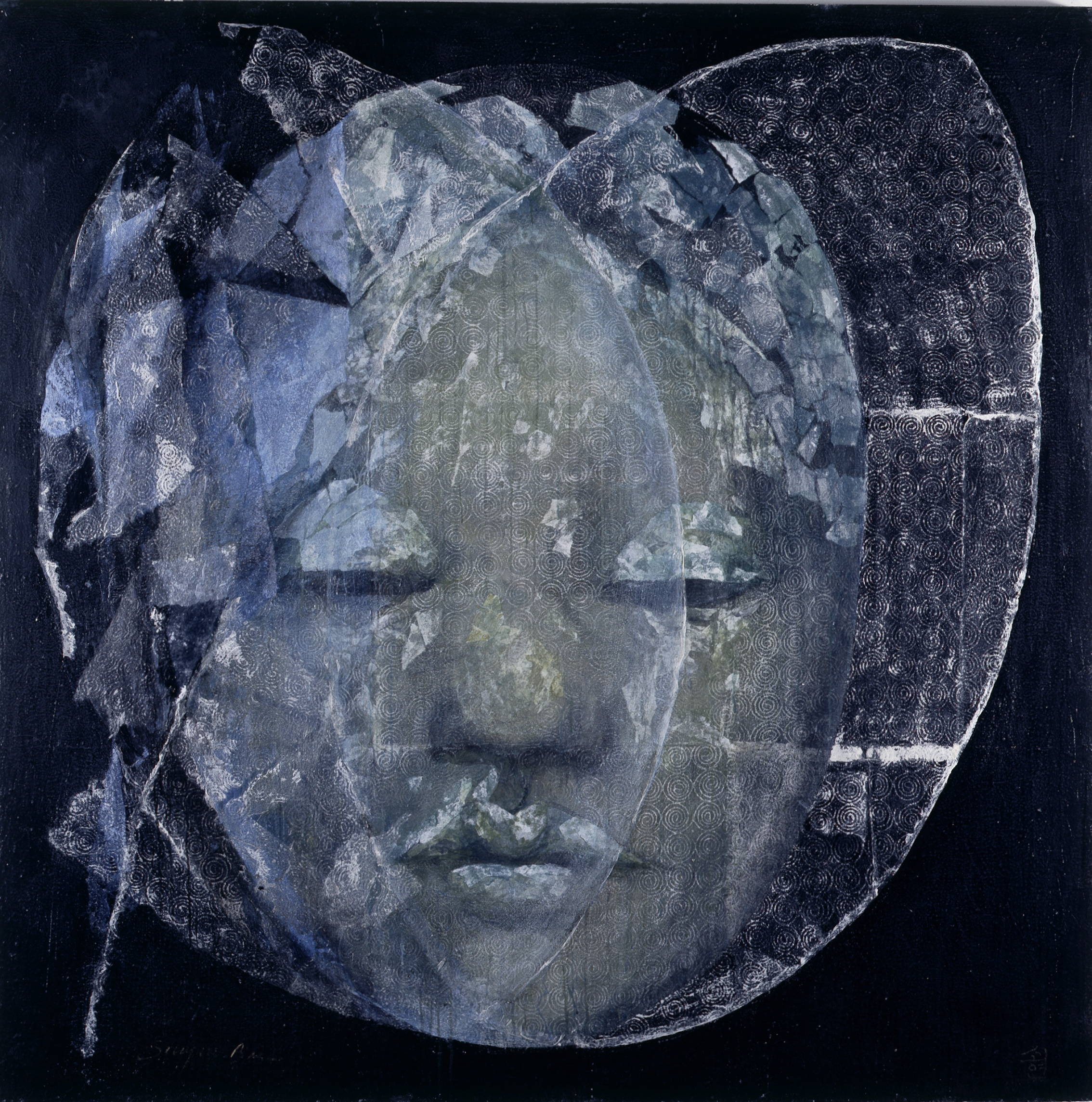 SoHyun Bae, A Woman of Josun Dynasty: Colossal Head III (Shim-Chung), 1998, rice-paper and pure pigment on canvas, 81 x 81 inches