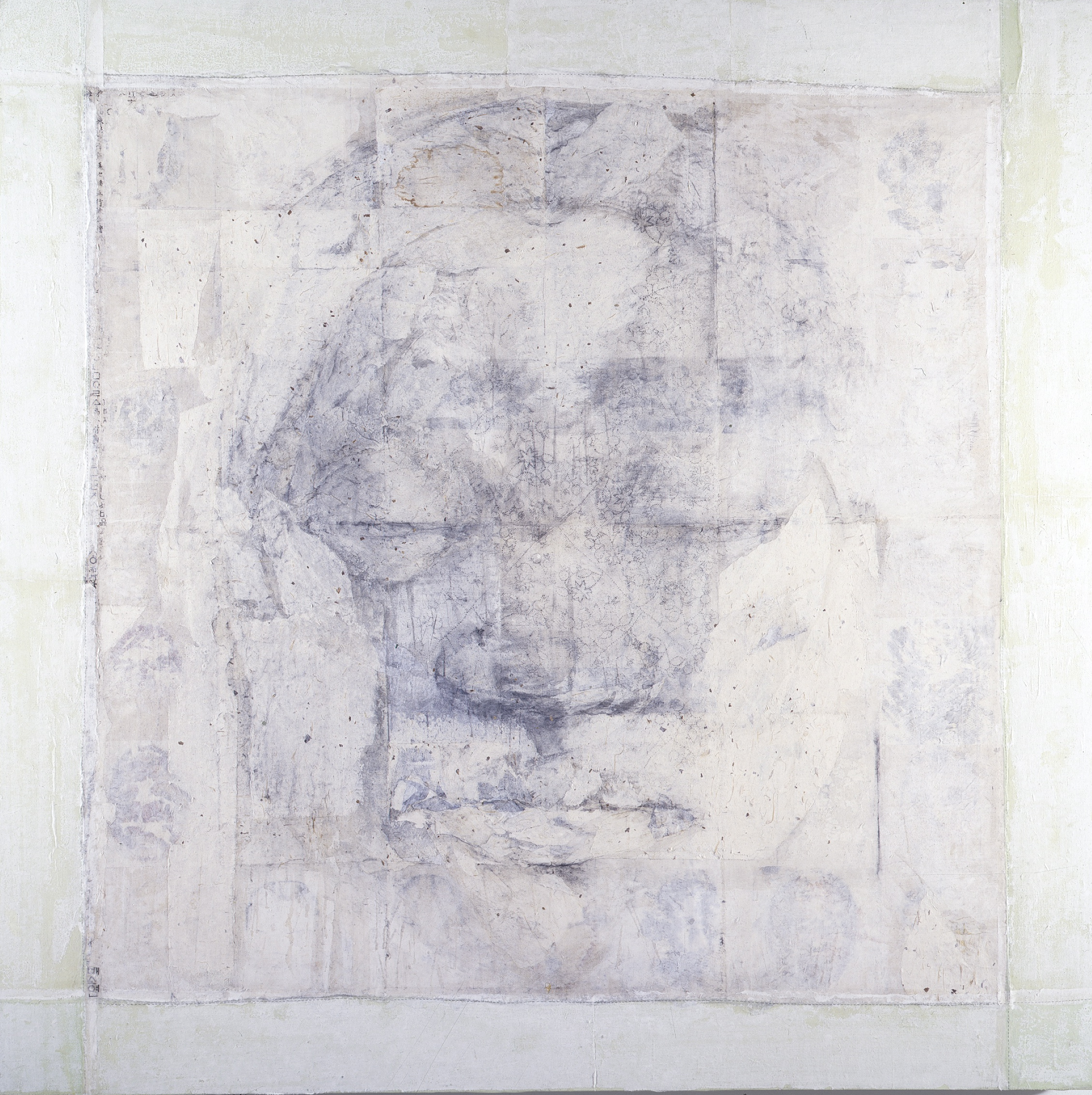 SoHyun Bae, A Woman of Josun Dynasty: Colossal Head V, 1998, pencil, rice-paper, fabric on canvas, 81 x 81 inches