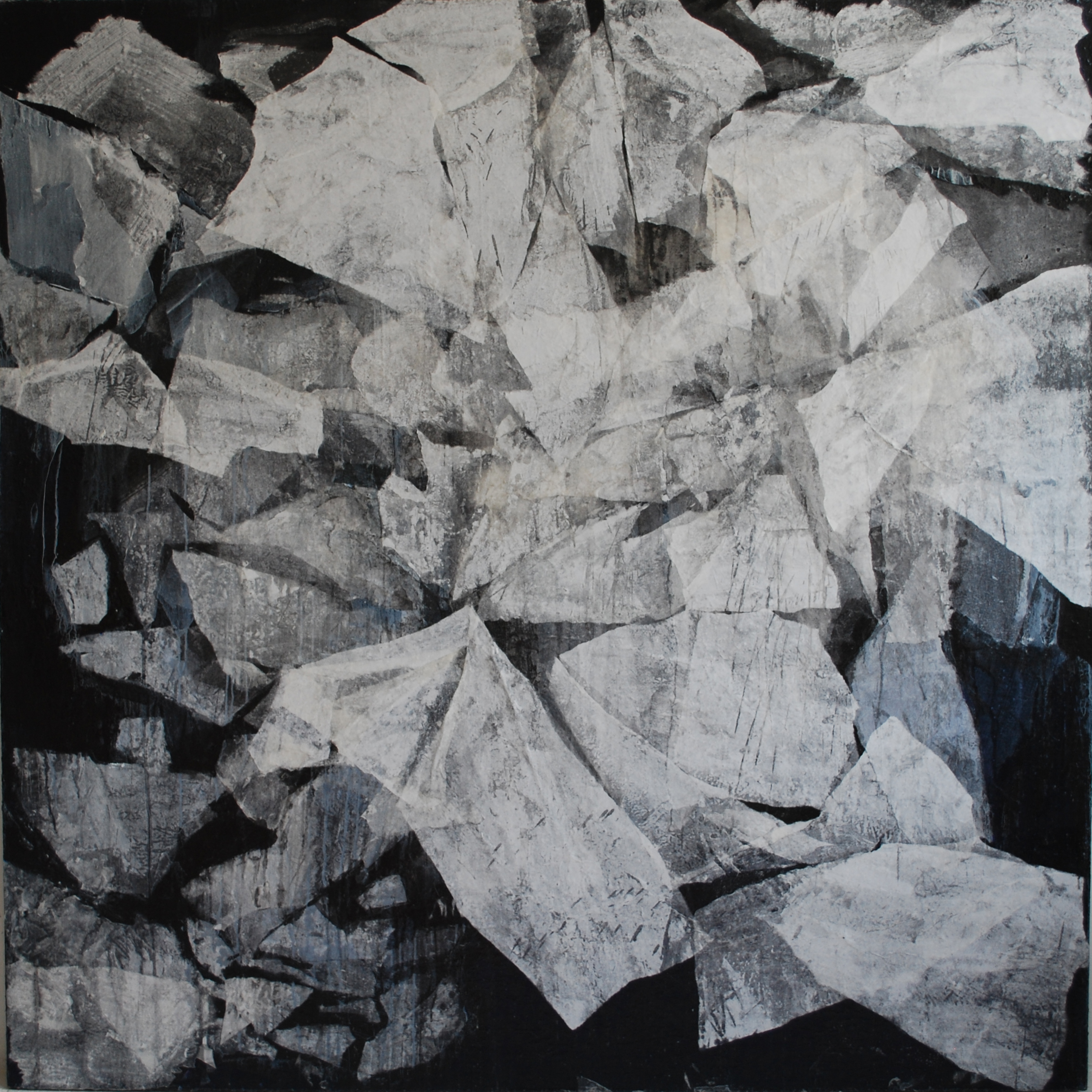 SoHyun Bae, Wrapped Shards #1, 2002, rice-paper and pure pigment on canvas, 81 x81 inches