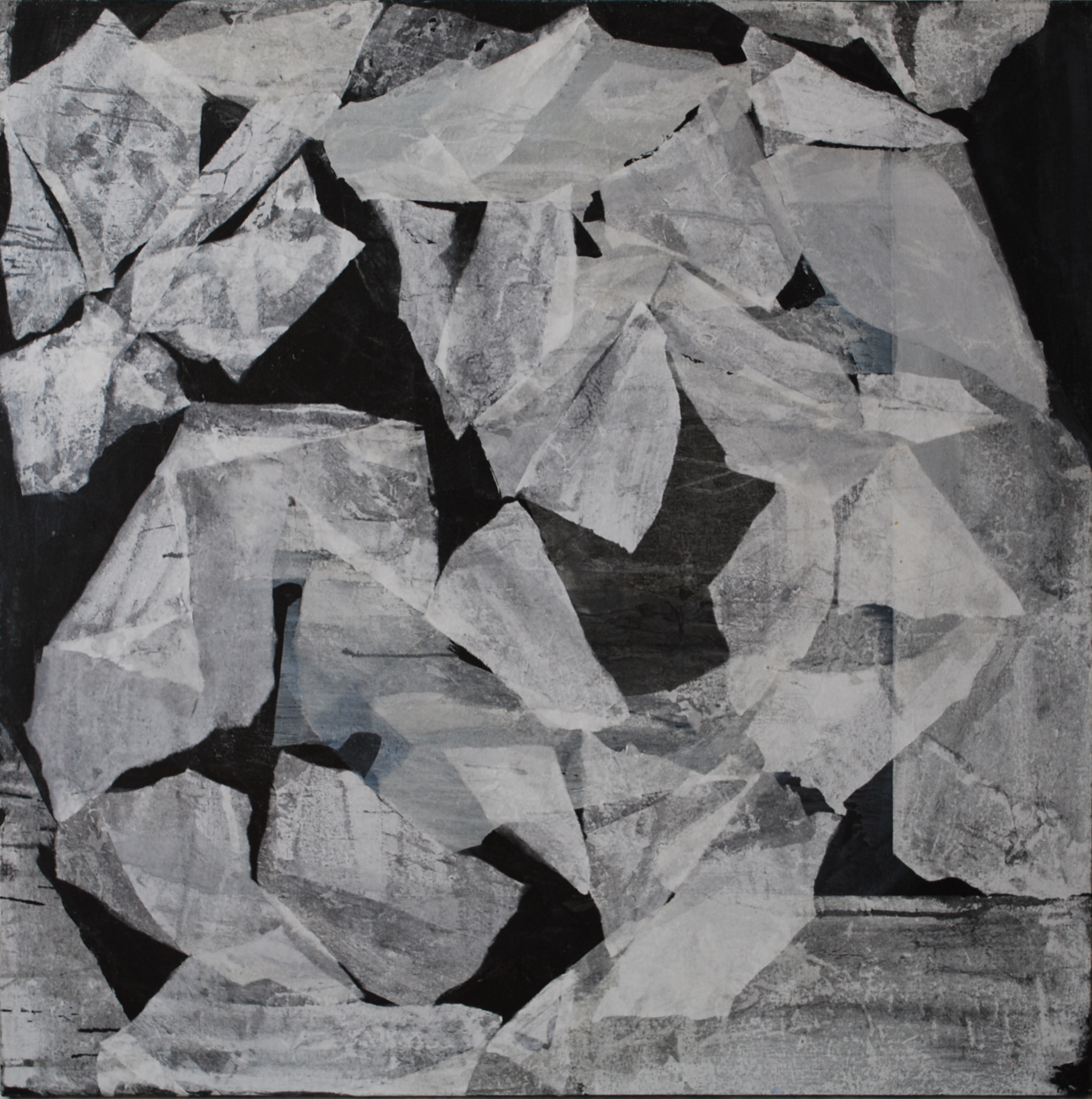SoHyun Bae, Wrapped Shards #2, 2002, rice-paper and pure pigment on canvas, 60 x 60 inches