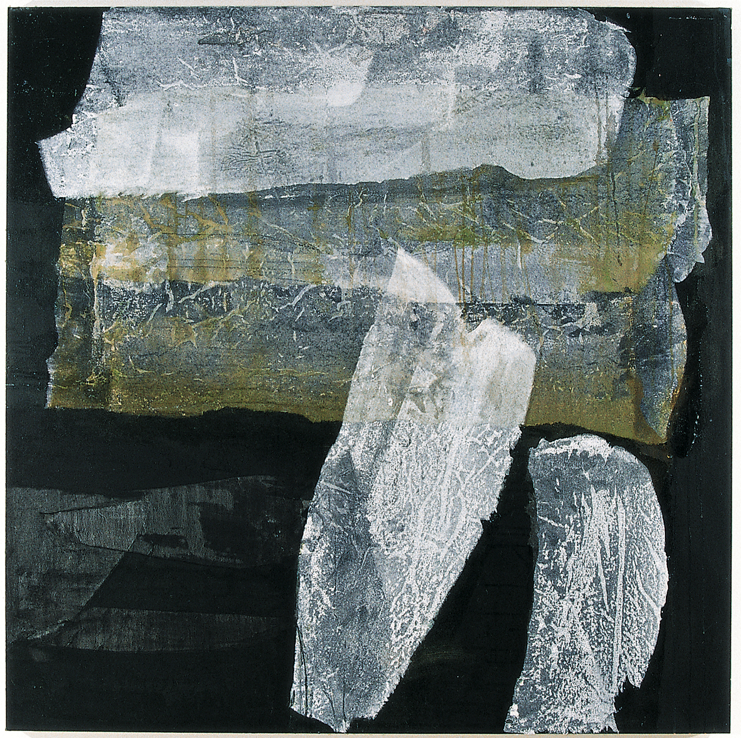 SoHyun Bae, Wrapped Shards #4, 2002, rice-paper and pure pigment on canvas, 60 x 60 inches